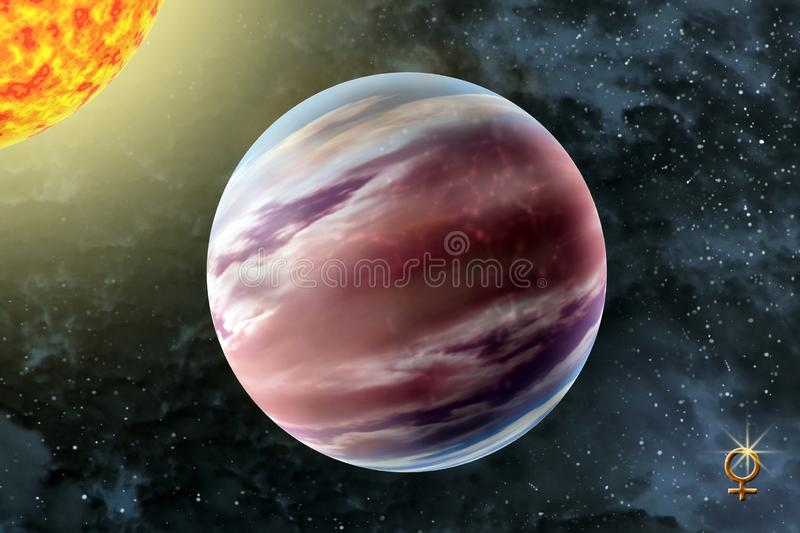 Venus - a second planet of the solar system. On background starry sky and Sun stock photo
