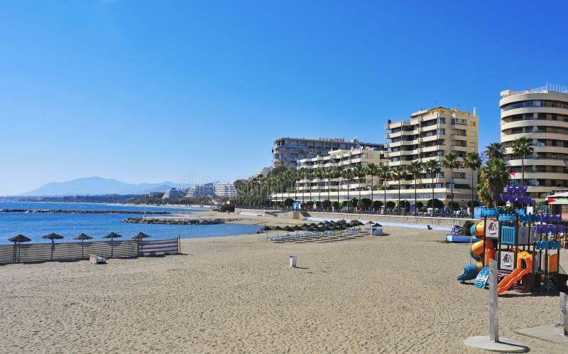 Venus strand i Marbella, Spanien royaltyfri foto