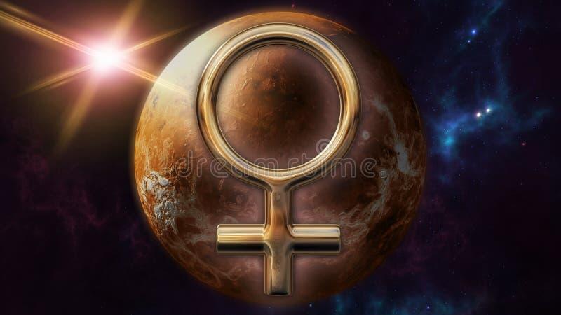 Venus-Tierkreishoroskopsymbol und -planet Wiedergabe 3d lizenzfreie abbildung