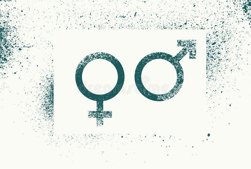 Venus und Mars Geschlechtszeichen E Retro- vektorabbildung lizenzfreie abbildung
