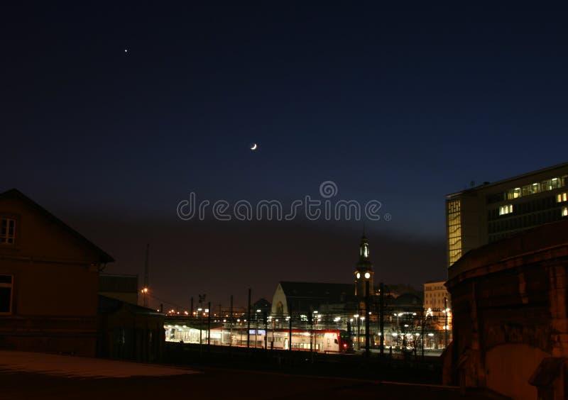 Venus und Mond stockfotos