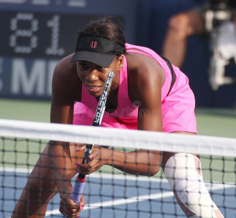 Venus Williams. NEW YORK - SEPTEMBER 1: Tennis athlete Venus Williams waits for a serve at the net during the US Open Tennis Tournament on September 1, 2009 in royalty free stock image