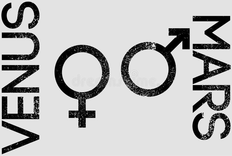 Venus y Marte Muestras del género Varón y cartel tipográfico del estilo del grunge del vintage de los símbolos femeninos Ilustrac stock de ilustración
