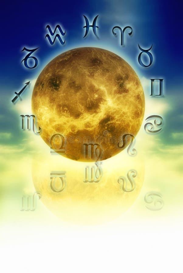 Venus and zodiac signs stock illustration