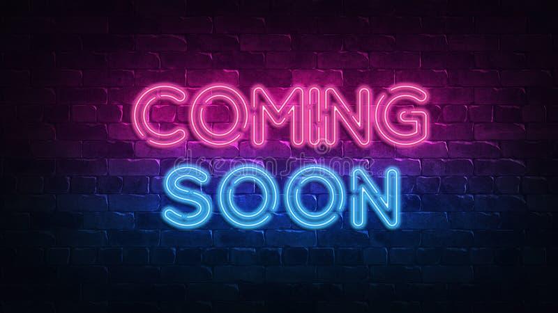 Venuta presto insegna al neon incandescenza porpora e blu Testo al neon Muro di mattoni acceso dalle lampade al neon Illuminazion illustrazione di stock