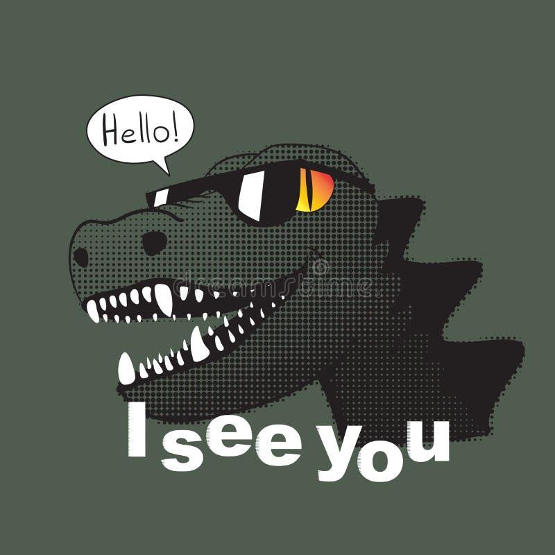 Veo que usted lema y dinosaurio en gafas de sol con una sonrisa dice infierno ilustración del vector