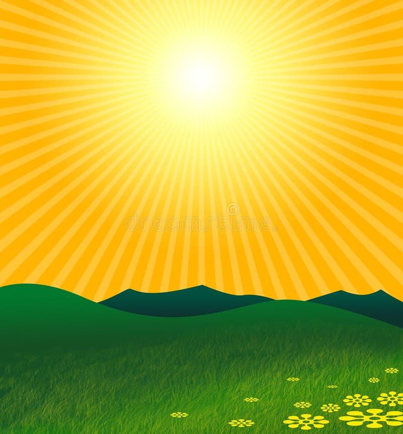 Verão acima da paisagem verde ilustração royalty free