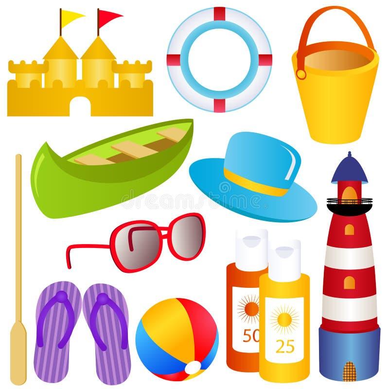 Verão, areia, mar, SPF, sandálias ilustração royalty free