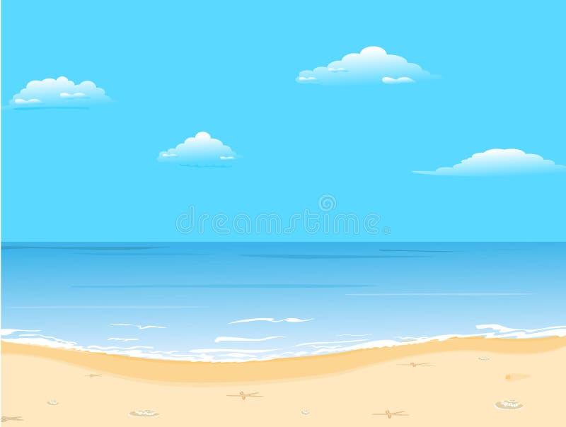 Verão bonito com praia ilustração royalty free