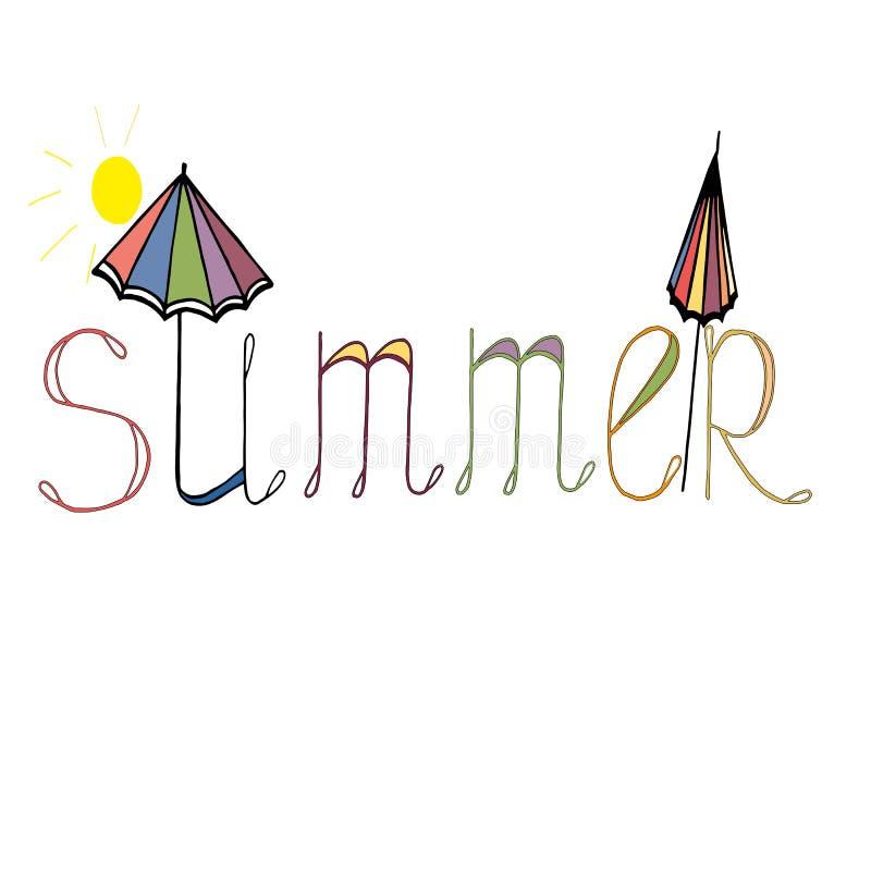 verão brilhante da palavra de ÑŒthe do 'do ‡ Ð°Ñ de ПÐ?Ñ com elementos de um guarda-chuva e do sol ilustração stock