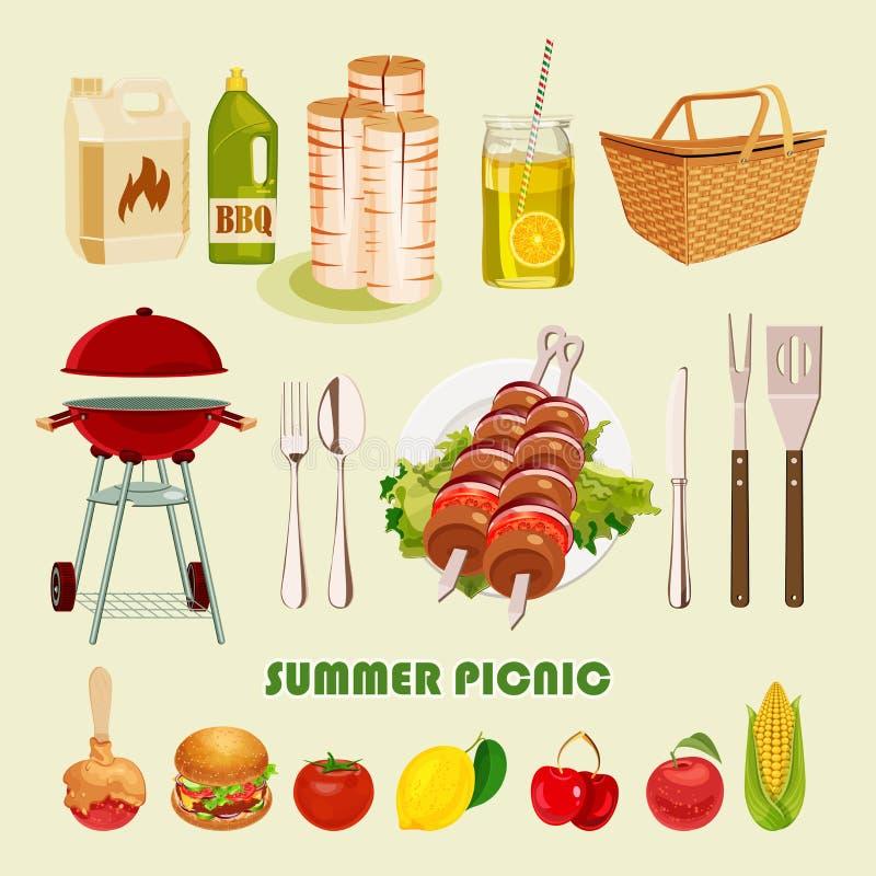 verão, cartaz do piquenique da mola ilustração stock