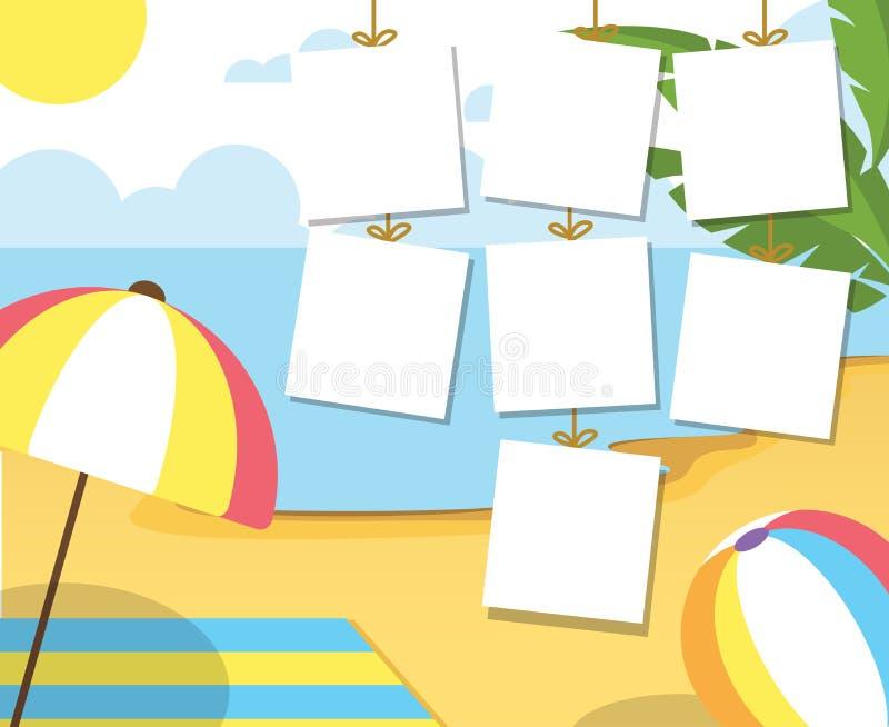 verão da foto na praia Palmas e plantas ao redor Ilustração do vetor dos desenhos animados Férias de verão no mar ilustração stock