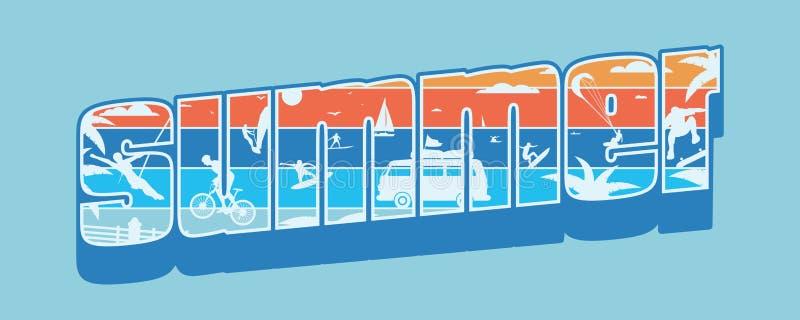verão da inscrição com paisagem da praia Cópia do t-shirt Simples liso ilustração do vetor