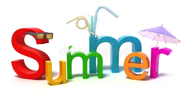 Verão da palavra com letras coloridas ilustração do vetor