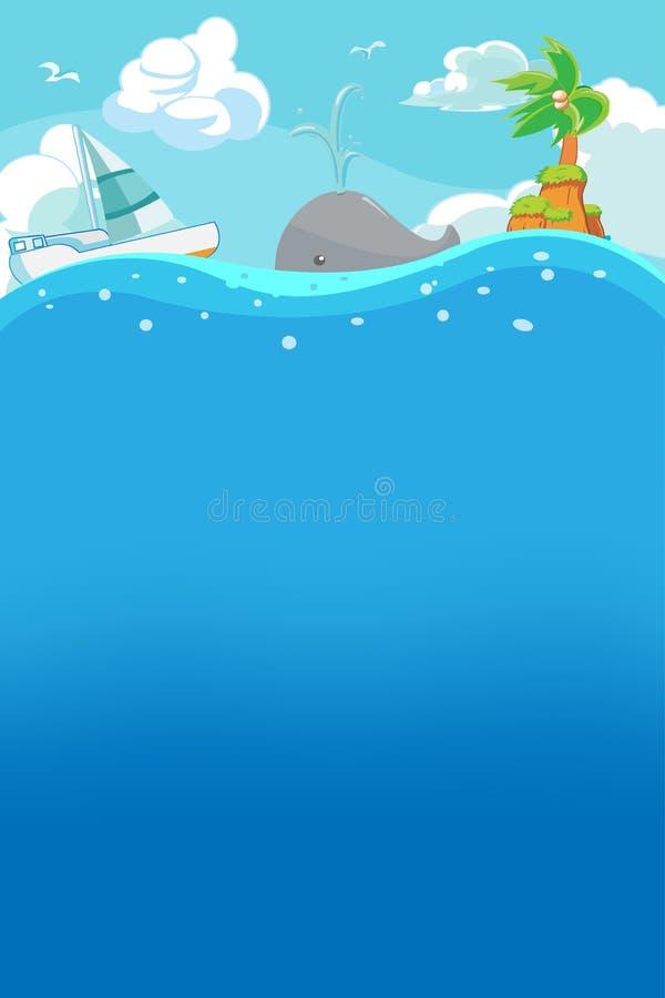 verão da praia sob o vetor do fundo da água imagem de stock