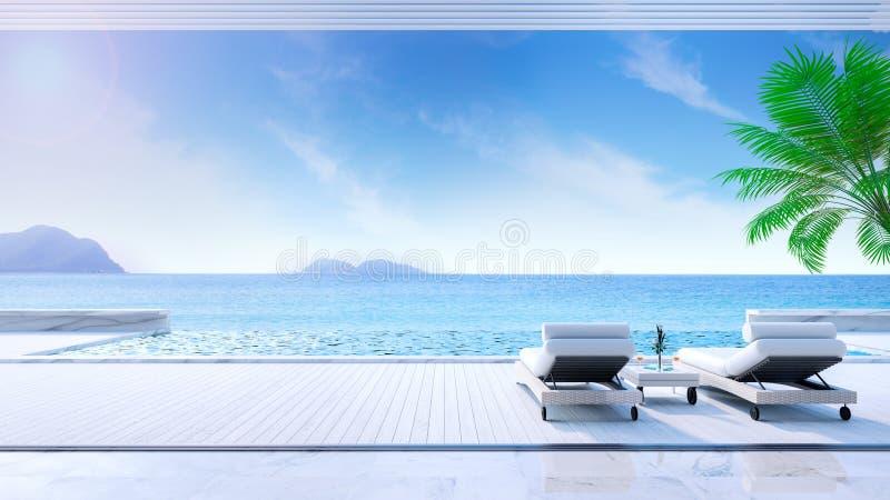 verão de relaxamento, daybeds na plataforma do banho de sol e na piscina privada com praia próxima e opinião panorâmico do mar na ilustração stock