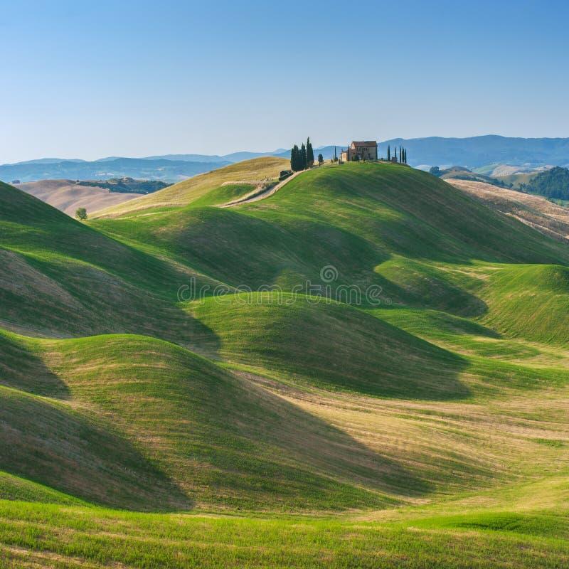 verão de Tuscan nos campos e vista bonita com sol imagem de stock