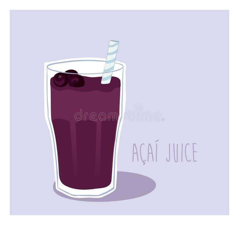 verão delicioso de Acai da bebida da energia ilustração do vetor
