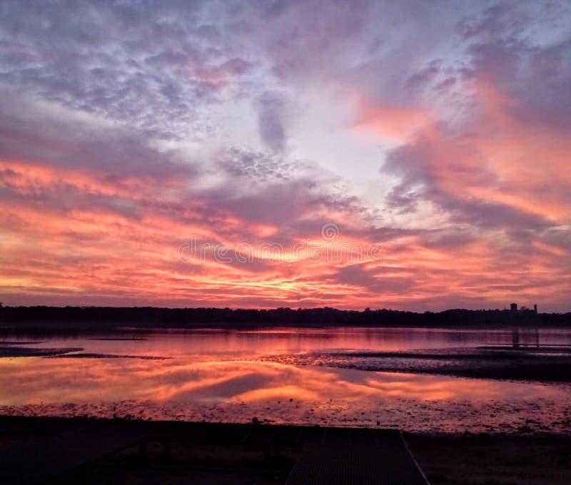 verão do lago sunset fotografia de stock royalty free