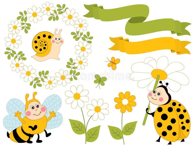 verão do vetor ajustado com os insetos bonitos e as flores dos desenhos animados ilustração do vetor