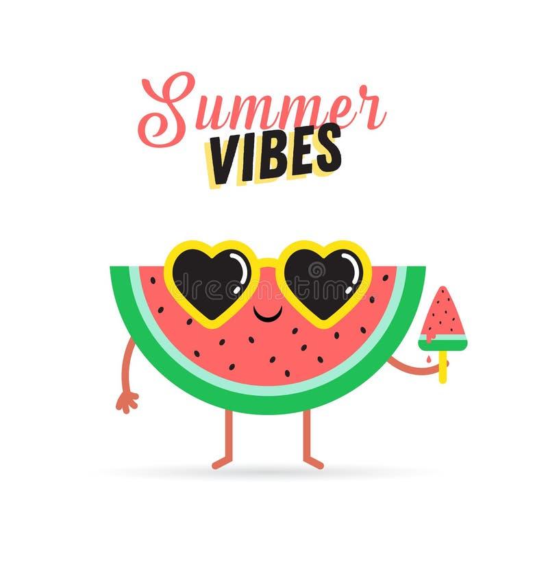 verão doce - ilustrações bonitos do vetor do caráter da melancia ilustração do vetor