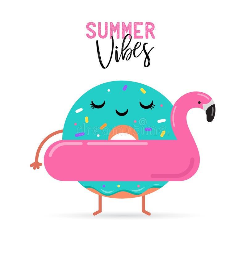 verão doce - o gelado bonito, a melancia e os caráteres dos anéis de espuma fazem o divertimento ilustração royalty free
