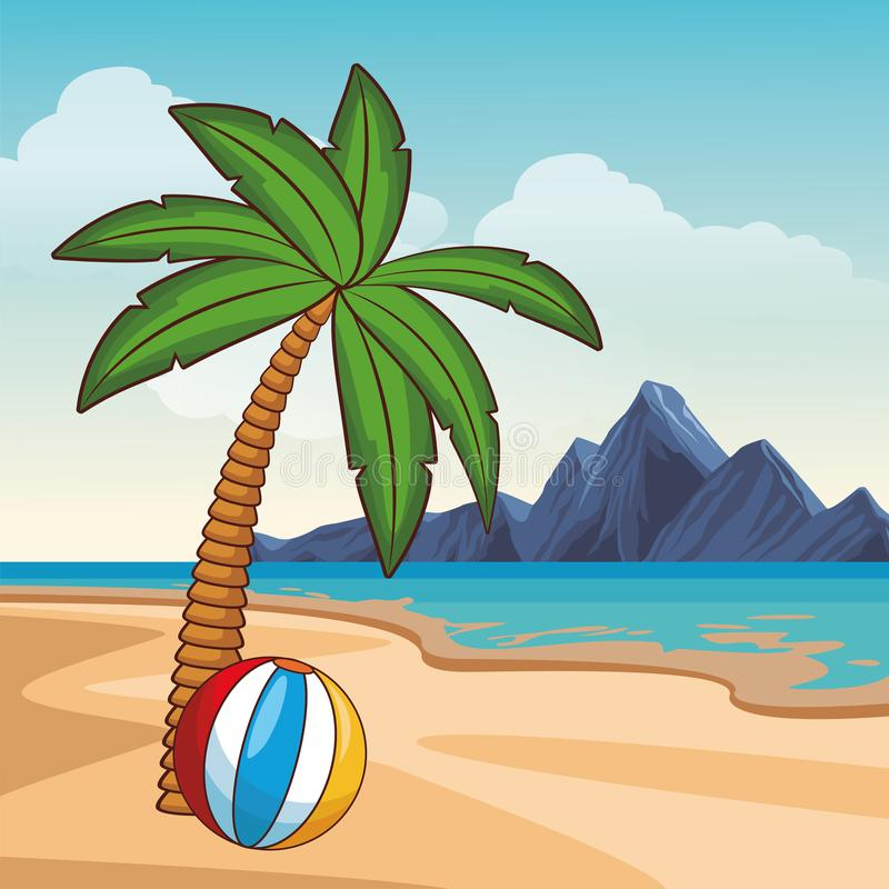 verão e desenhos animados da praia ilustração royalty free