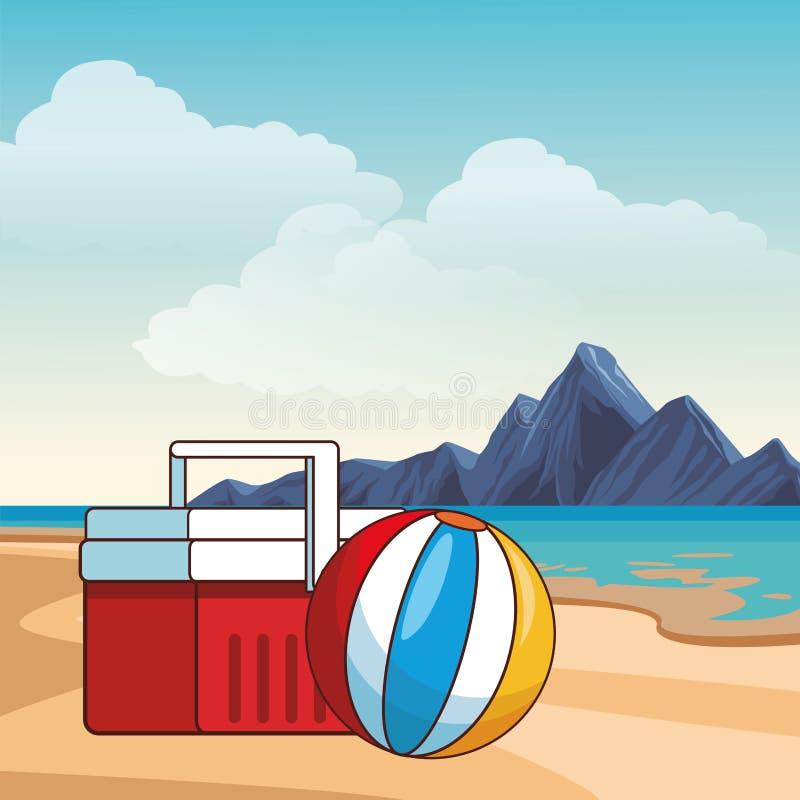 verão e desenhos animados da praia ilustração stock