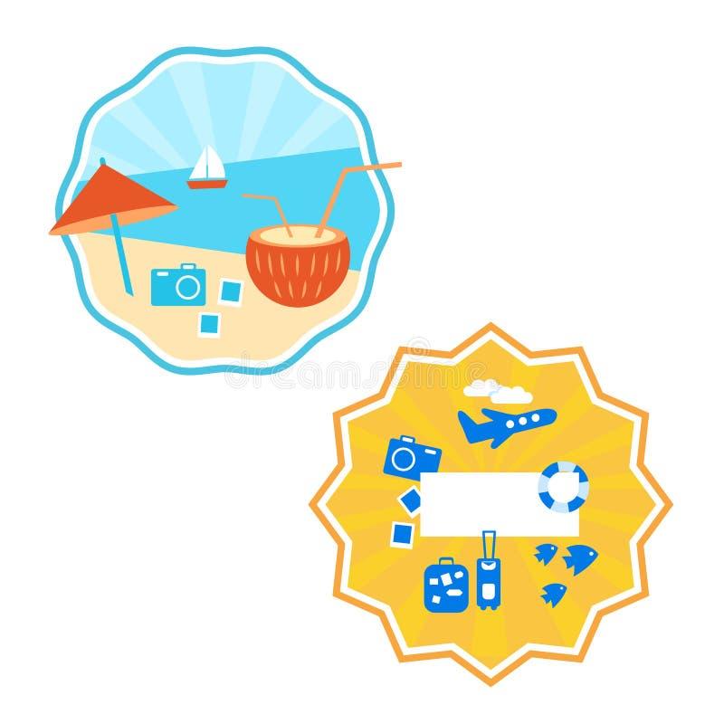 verão, etiqueta, projeto do logotipo, fundo colorido, vetor ilustração stock