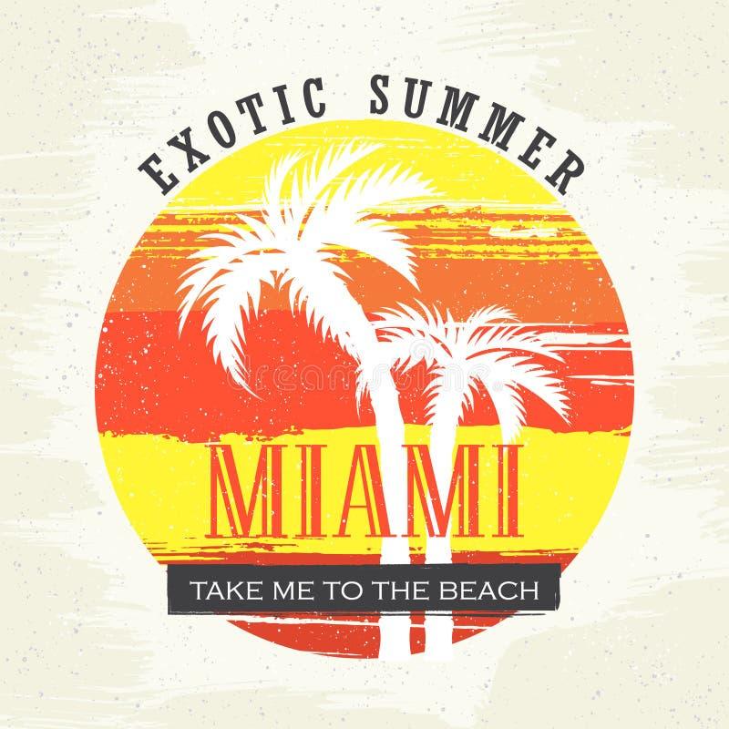 verão exótico Miami Tome-me à praia Ilustração do vetor para o t-shirt e o outro usos ilustração stock