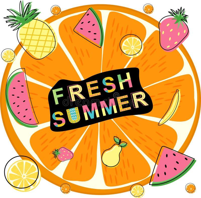 verão fresco com frutos - ilustração do cartaz do vetor, eps ilustração royalty free