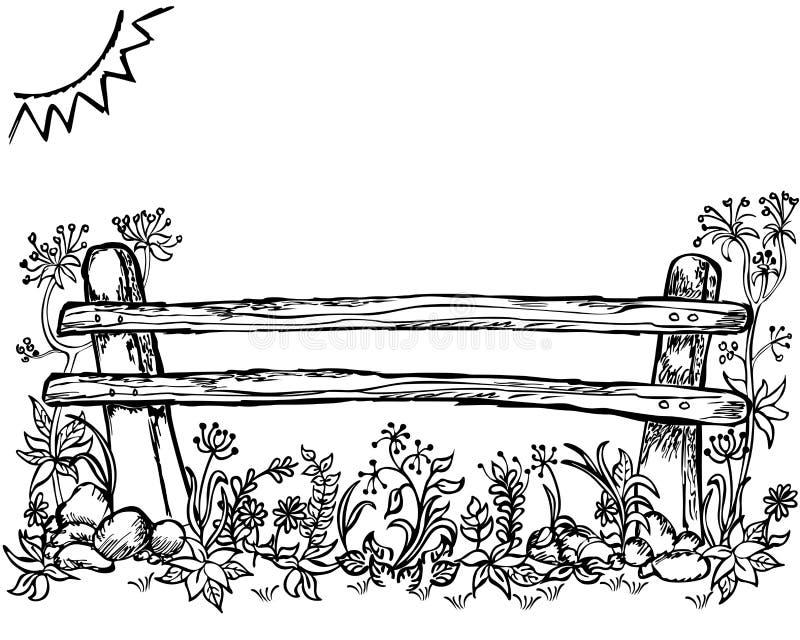verão, fundo da mola, cerca, grama e flor ilustração stock