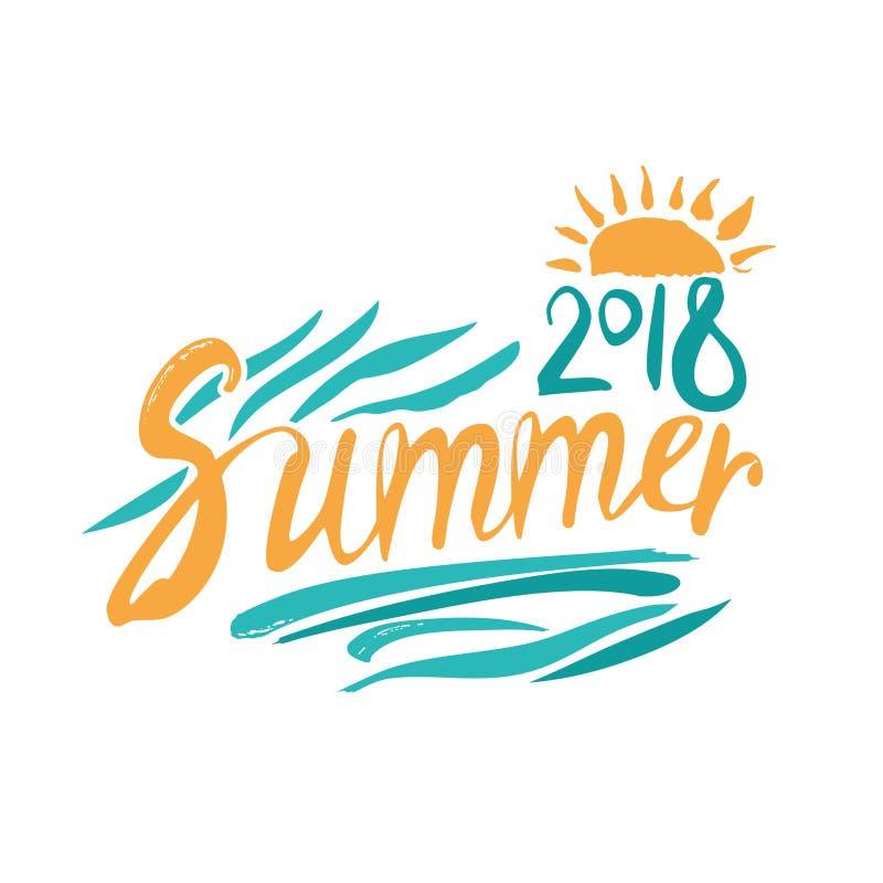 verão 2018 Inscrição e folha de palmeira e sol tirados mão ilustração stock