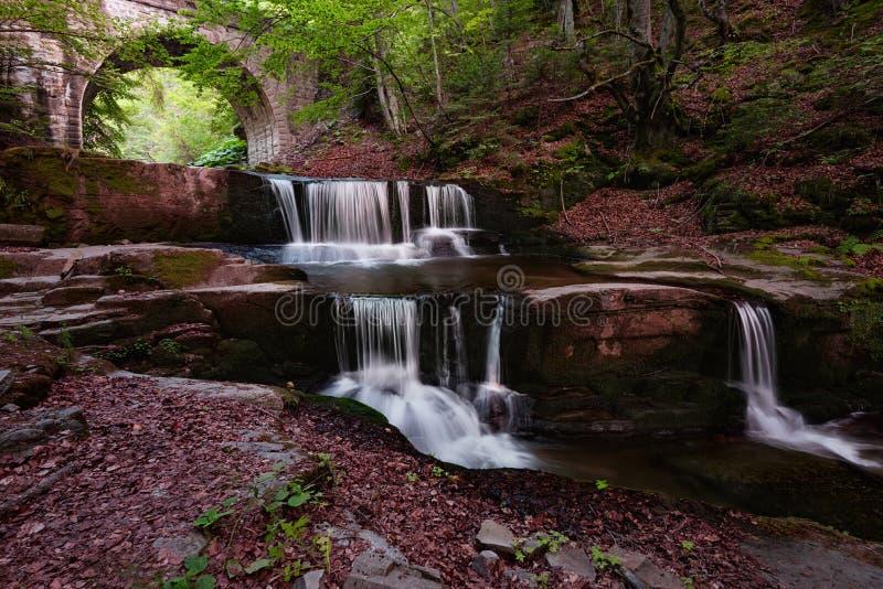 verão na cachoeira perto da vila de Sitovo, Bulgária fotos de stock