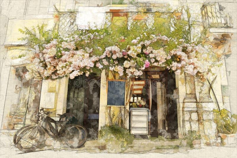 verão na pintura da cidade ilustração royalty free