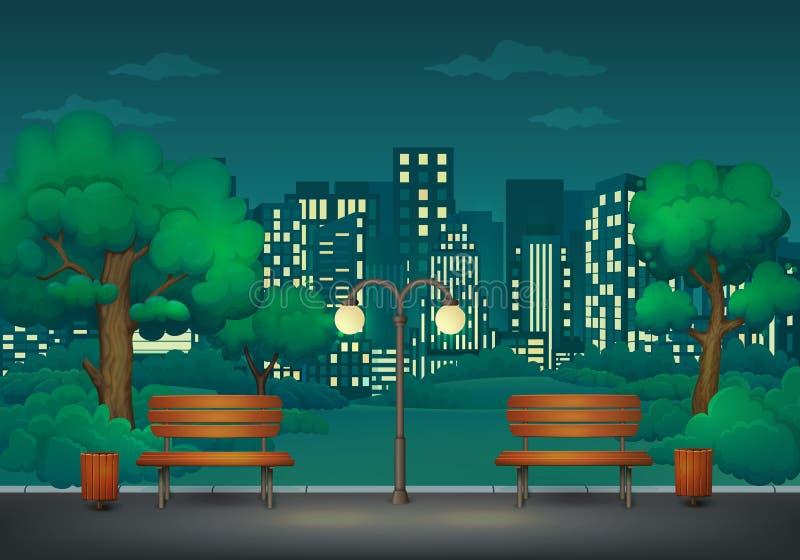 verão, parque da noite da mola Dois bancos com baldes do lixo e lâmpada de rua em uma fuga do parque com arquitetura da cidade no ilustração stock