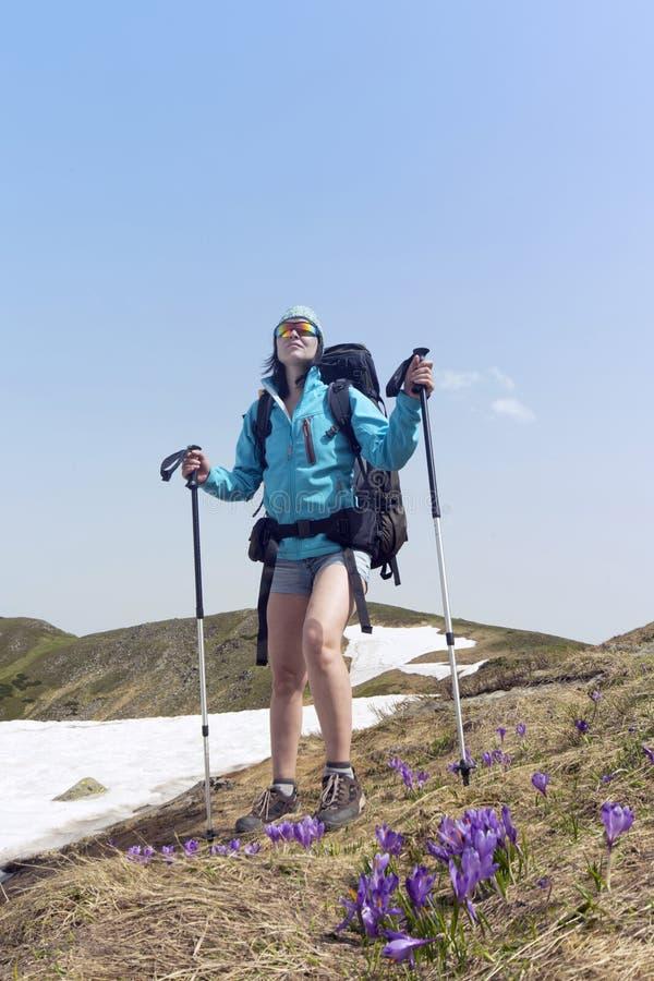 verão que caminha nas montanhas com uma trouxa foto de stock royalty free
