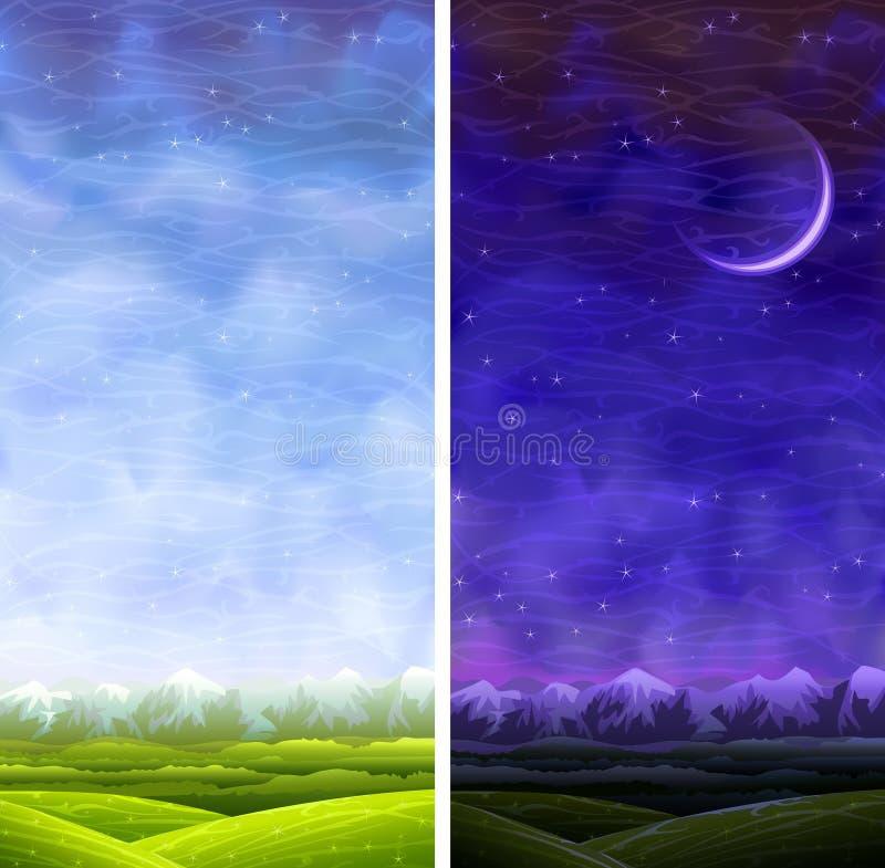 Verão que rola paisagens verticais do dia e da noite ilustração royalty free