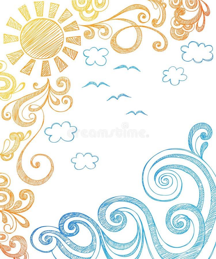 Verão Sun e Doodles esboçado do caderno das ondas ilustração do vetor