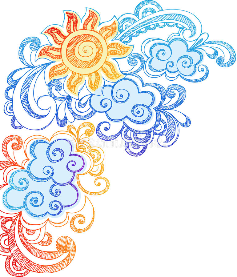 Verão Sun e Doodles esboçado do caderno do céu ilustração royalty free