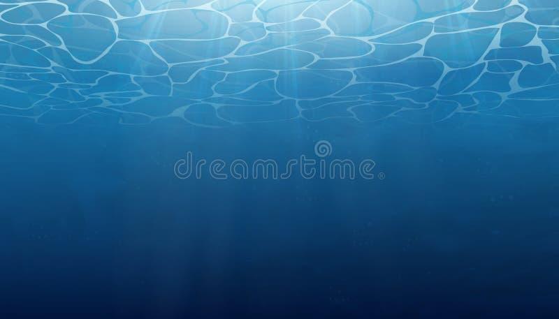 verão Textura da superfície da água O fundo subaquático com onda ilumina-se, borbulha-se do ar, raios de luz do sol S subaquático ilustração royalty free
