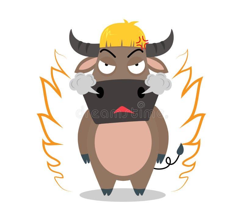 Verärgerte Büffelzeichentrickfilm-figur stock abbildung