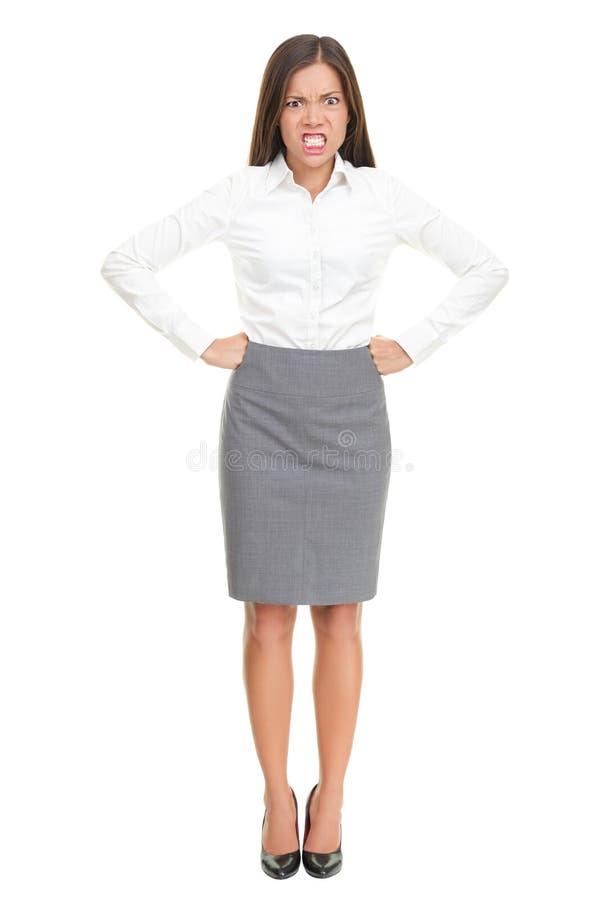 Verärgerte Frau: umgekippter Geschäftschef auf Weiß stockfotografie