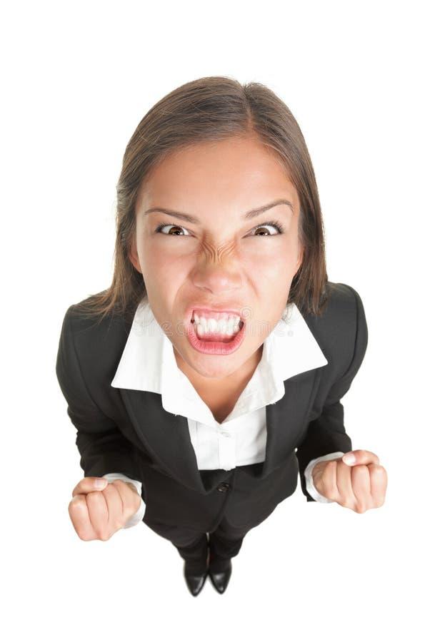 Verärgerte Geschäftsfrau getrennt lizenzfreies stockbild