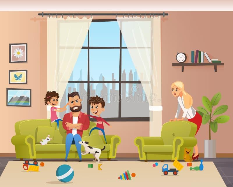 Verärgerte junge Vater-Look After Naughty-Kinder lizenzfreie abbildung
