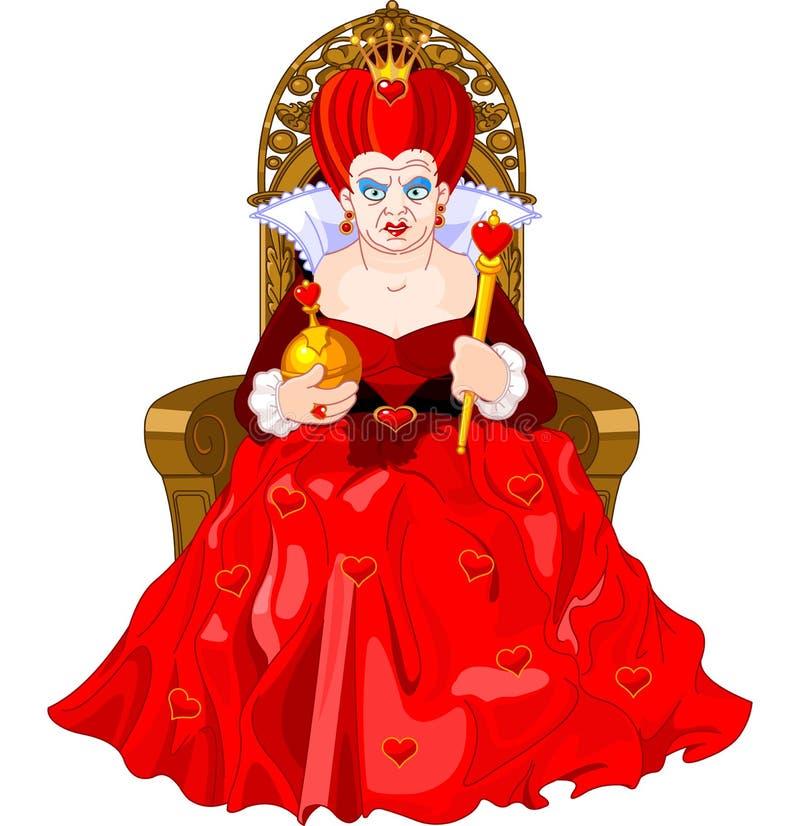 Verärgerte Königin auf Thron lizenzfreie abbildung