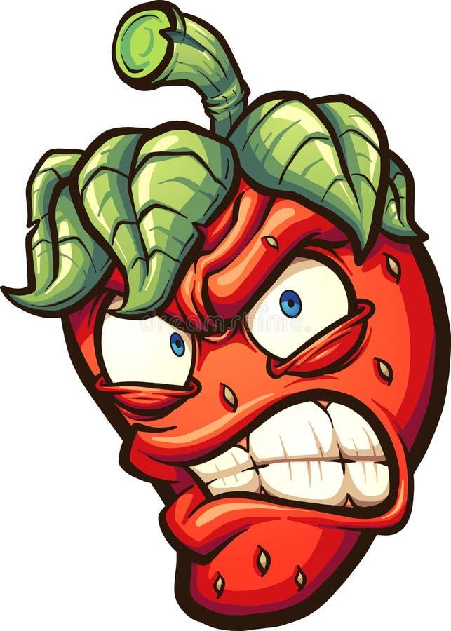 Verärgerte Karikatur-Erdbeere lizenzfreie abbildung