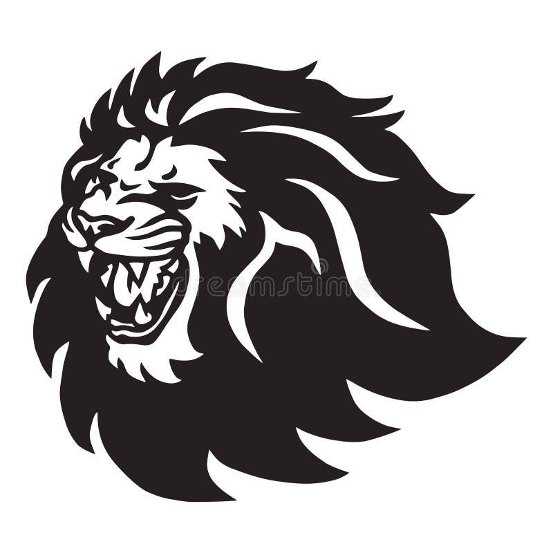 Verärgerte Lion Head Roaring Logo Vector-Ikone lizenzfreie stockfotos