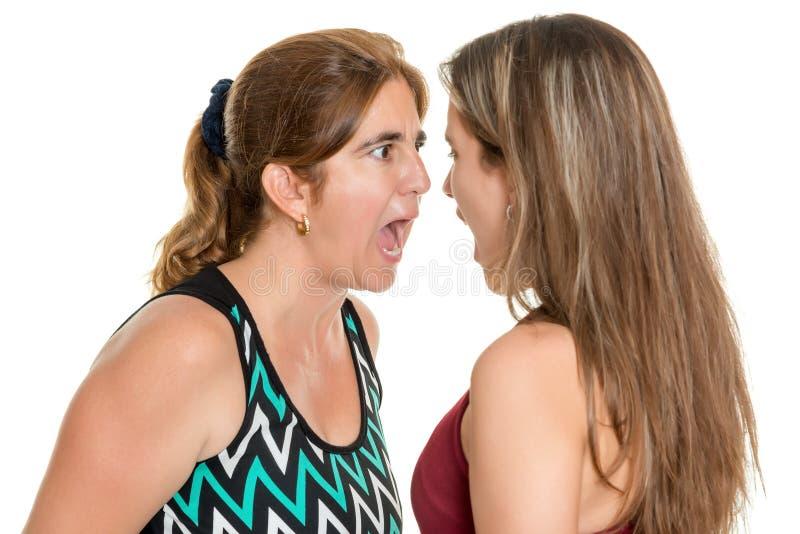 Verärgerte Mutter und ihre jugendliche Tochter, die an einander schreit lizenzfreie stockfotografie