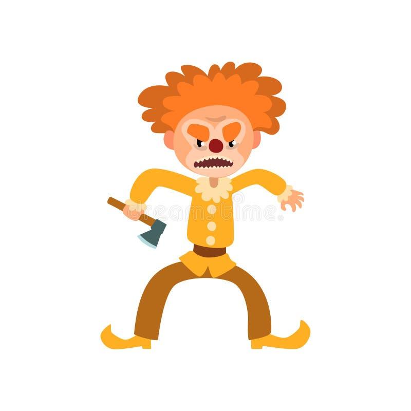 Verärgerte rote behaarte Clownzeichentrickfilm-figur, Halloween-Clown mit den bösen Blicken, die Axtvektor Illustration auf einem stock abbildung